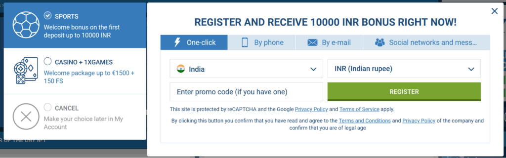 1xbet registration methods