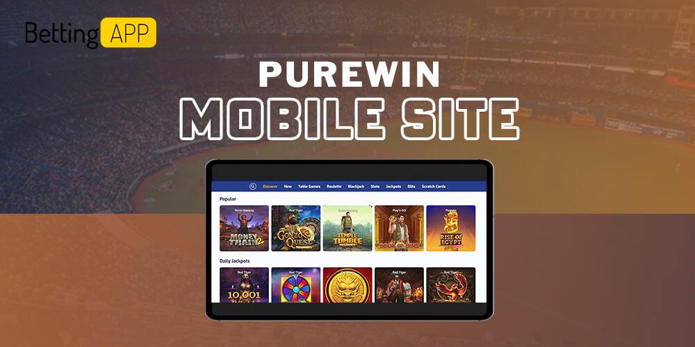 Purewin mobile site